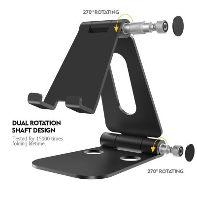 Foldable Tablet Stand Cell Phone Stand, RXM Multi-Angle Universal Alloy Stand for iPad, Air, Pro, iPhone X 8 7 Plus, Nintendo Switch, Galaxy S8, Nexus All 3.5-13 inch