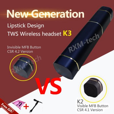Lipstick Design Twins Wireless Invisible Headset
