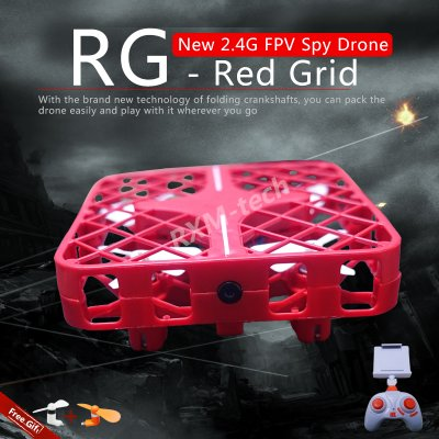 The Grid Design Drone with 1.0 MP Camera WIFI FPV 2 Ways Control (Red)